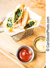 Fried spring roll with ham cheese and spinach vegetable