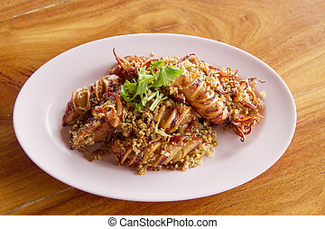 Fried squid with garlic Vegetables