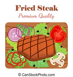 Fried steak on cutting board with vegetables. Cartoon flat style