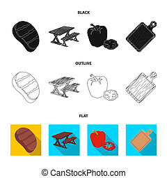 Fried steak, table with a bench for relaxation, sweet pepper, cutting board.BBQ set collection icons in black,flat,outline style bitmap symbol stock illustration web .