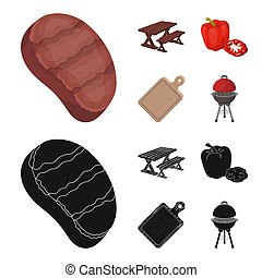 Fried steak, table with a bench for relaxation, sweet pepper, cutting board.BBQ set collection icons in cartoon,black style bitmap symbol stock illustration web .