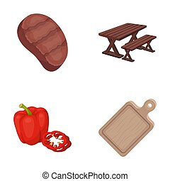 Fried steak, table with a bench for relaxation, sweet pepper, cutting board.BBQ set collection icons in cartoon style bitmap symbol stock illustration web .