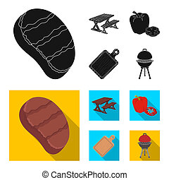 Fried steak, table with a bench for relaxation, sweet pepper, cutting board.BBQ set collection icons in black, flat style bitmap symbol stock illustration web .