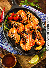 Fried tiger shrimps