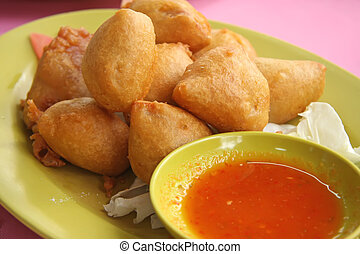 Fried tofu beancurd with dipping sauce traditional chinese...