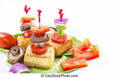 Fried tofu canape. - Fried tofu canape on white background .