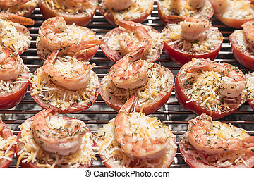 Fried tomato shrimp cake on the grill