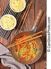 fried vegetable in wok