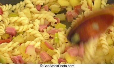 Fried vegetables,pasta,egg