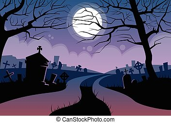 friedhof, halloween, friedhof, mond, fluß, banner, karte