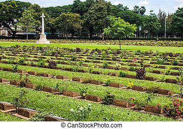 friedhof, kanchanaburi, kriegsbilder, thailand