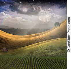 friedlich, landschaftsbild, mit, berg