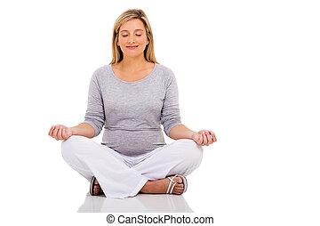 friedlich, meditierende frau, schwanger