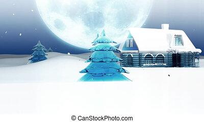 friedlich, stadt, vorabend, weihnachten