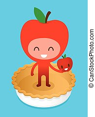 Friedly Apple Cartoon Character