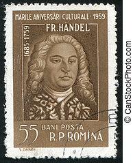 Friedrich Handel - ROMANIA - CIRCA 1959: stamp printed by...