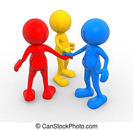 Friend - 3d people - men, person. Three friends different....