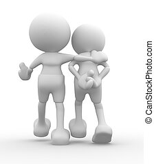 Friend - 3d people - men, person walking with to hands...