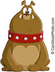 Cartoon illustration of a lovely bulldog