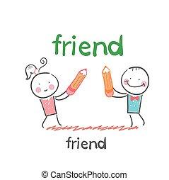 friend. Fun cartoon style illustration. The situation of...