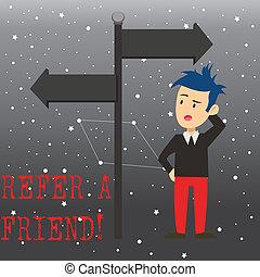 friend., direction., pointage, photo, direct, signe, quelque chose, autre, envoyer, écriture, note, référer, quelqu'un, business, opposé, projection, confondu, lui, homme, aimer, cadeau, showcasing, ou, route