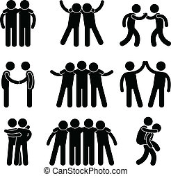 Friend Friendship Relationship Team - A set of pictogram...