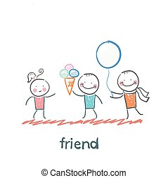 friend. Fun cartoon style illustration. The situation of life.