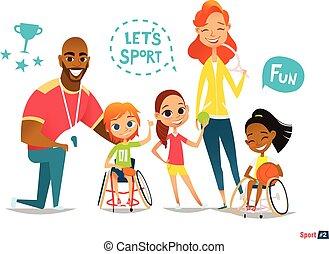 friend., gosses, fauteuils roulants, illustration., leur, family., monde médical, jeune, sports avec ballon, handicapé, sportsmen's., entraînement, vecteur, amusez-vous, rehabilitation., jouer