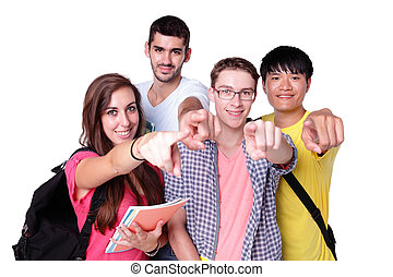 group of happy students pointing