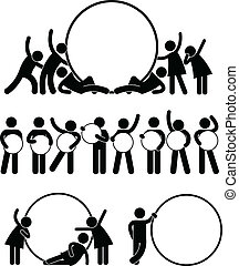 A set of pictogram representing a group of friend holding round empty banner.