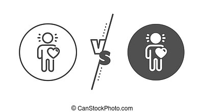Friend line icon. Friendship love sign. Assistance business. Vector