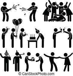 A set of pictograms representing people in party and celebration.