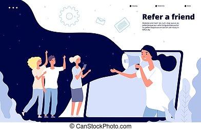 friend., referentie, zakenlui, tussenverdieping, vriendelijk, het schreeuwen, vector, verwijzen, mal, megafoon, vrienden, pagina, zoemen