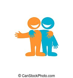 Friend - Symbol of friendship. Icon Happy friends. Vector...