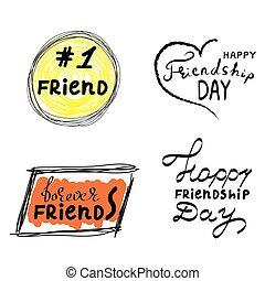 friend., toujours, grunge, expressions, illustration, main, jour, vecteur, parole, citation, branché, dessiné, bulles, heureux, amitié, style., bloc, amis