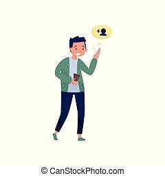 friend., wandelende, zijn, silhouette, netwerk, kop, jonge, plat, theme., het kijken, vector, koffie, sociaal, nieuw, kerel, hand, telefoon., wolk