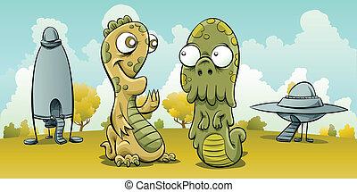 Friendly Aliens Meeting - Two friendly cartoon aliens land ...