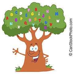 Friendly Alphabet Tree Waving - Happy Cartoon Tree Waving A...