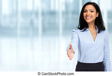 Asian business woman with handshake.