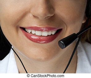 Friendly assistance - Woman's smile and a microphone