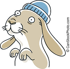 Friendly Bunny - A cute, cartoon bunny in a toque.