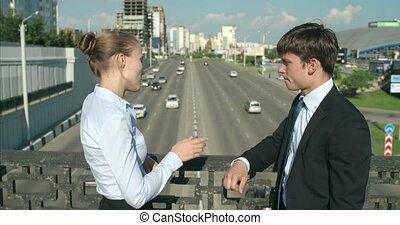 Friendly business talk