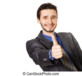 Friendly businessman showing thumbs up sign