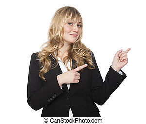 Friendly businesswoman pointing with both hands