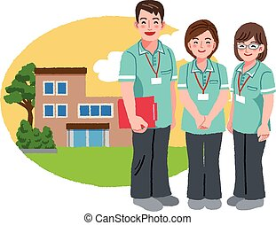Friendly caregivers with retirement home - Three caregivers...