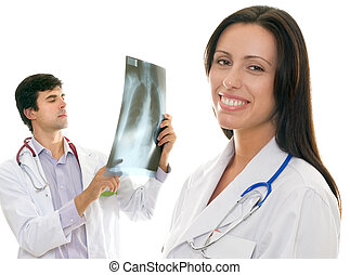 Friendly caring medical health doctors - Smiling female...