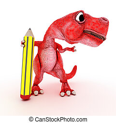 Friendly Cartoon Dinosaur - 3DS Render of Friendly Cartoon...