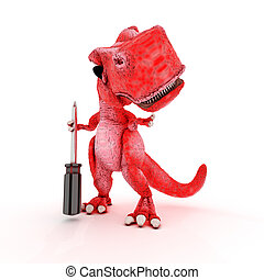 Friendly Cartoon Dinosaur with screwdriver - 3DS Render of...