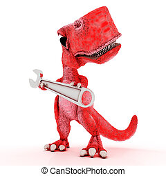 Friendly Cartoon Dinosaur with wrench - 3DS Render of...