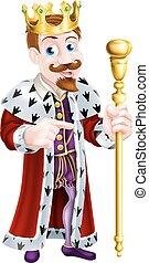 Friendly Cartoon King Pointing